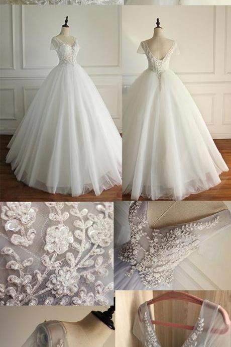 Elegant A-line Short Illusion Sleeve Appliques Rhinestone Lace Up Back Floor Length Wedding Dress,WD 282