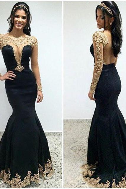 Black Prom Dresses,Lace Prom Dress,Sexy Prom Dress,Long Sleeves Prom Dresses,Charming Formal Gown,Evening Gowns,Black Party Dress,Prom Gown For Teens,PD292