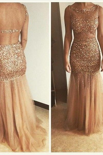 Champagne Prom Dresses,Mermaid Prom Gowns,Tulle Prom Dresses,Beading Prom Dresses,Mermaid Prom Gown,2016 Prom Dress,Evening Gonw With Silver Beading For Teens,PD298
