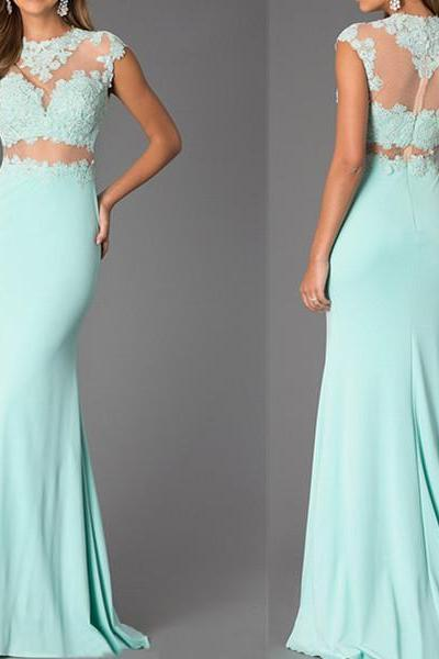 Custom Made Two-Piece Mint Lace High Neck Bare-Midriff Floor Length Prom Dress Handmade Cheap Prom Dresses 2015 Prom Dress,PD303