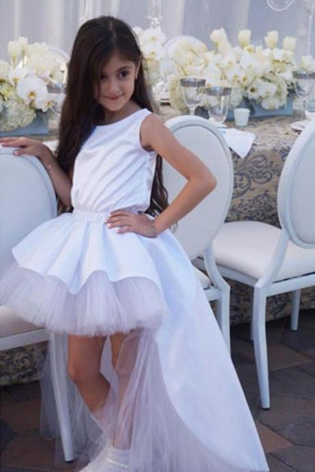 2017 Princess Girl Beauty Dresses Girls Puffy First Communion Dress Ball Gown Long Flower Girl Dresses High Low Dresses,FGD320
