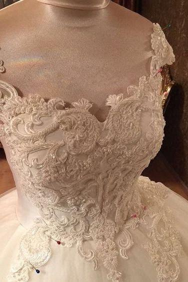 Romantic Lace Pearl Beaded Sweetheart Wedding Dresses Ball Gowns,W327