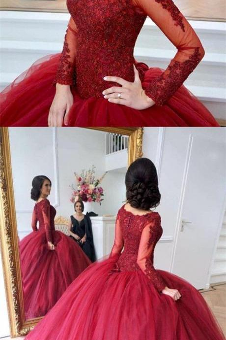 Lace Appliques Long Sleeves Tulle Ball Gowns Maroon Wedding Dresses,W328