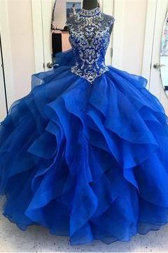High Neck Crystal Beaded Bodice Corset Organza Layered Quinceanera Dresses Ball Gowns 2018,PD333