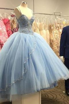 Light Blue Tulle Ball Gowns Quinceanera Dresses With Beaded,PD334