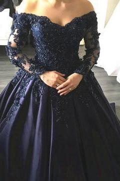 Navy Blue Lace Appliques Long Sleeves Ball Gowns Wedding Dresses Off Shoulder,PD344