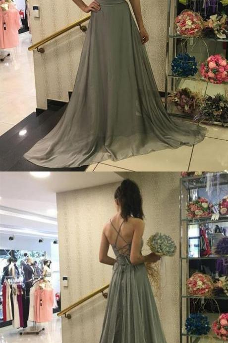 Unique A-Line Spaghetti Straps Grey Chiffon Long Prom/Evening Dress,P353