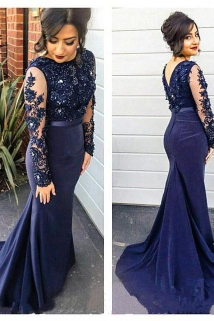 Navy Blue Prom Dresses,2017 Prom Dress,Lace Appliques Prom Dress,Mermaid Prom Dresses,2017 Formal Gown,Mermaid Evening Gowns,Navy Blue Long Train Evening Dress,Long Sleeves Evening Gowns,P362
