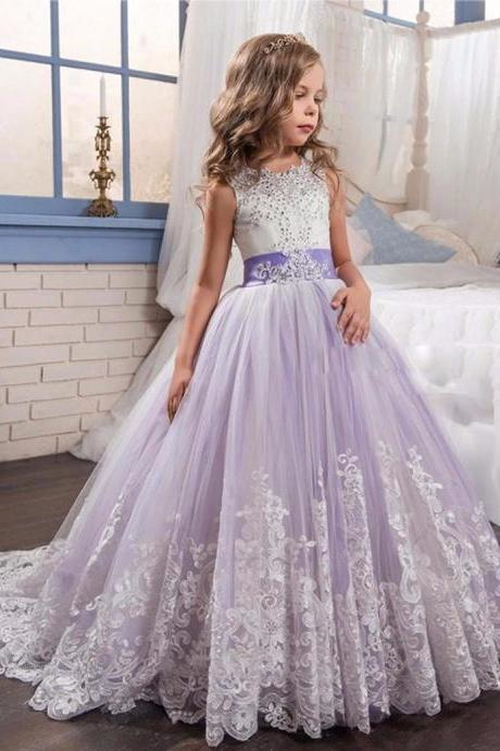 Beading Ball Gown Lace Flower Girl Dresses Fashion Purple and Beige White Appliques Girls Communion Dress Kids Christmas Dress.Flower Girl Dresses.High Flower Girl Dresses,F363