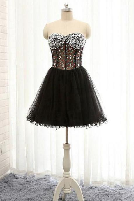 A-line Sweetheart Homecoming Dress Black Tulle Short Prom Dress ,H369