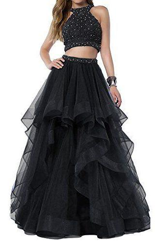 Sexy Beaded Two Piece Prom Dresses Long Asymmetric Layered Tulle Formal Prom Ball Gowns,P380