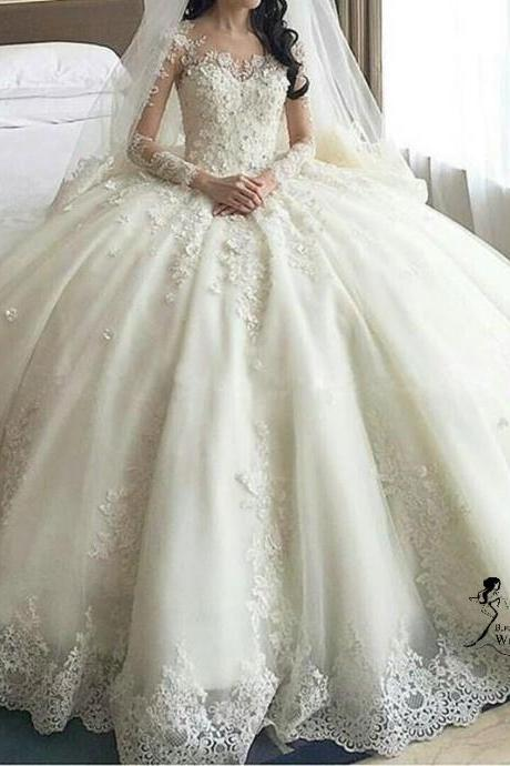 luxury wedding dresses,Women's Long Sleeve Lace wedding dresses,Ball Gown Wedding Dresses Cathedral Train,W419