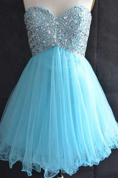 Custom Made Cute Short Prom Dresses,Tulle Girls Homecoming Dress,Light Blue Party Dress,Sweetheart Homecoming Dress,Beading Crystal Gril Dress,H422