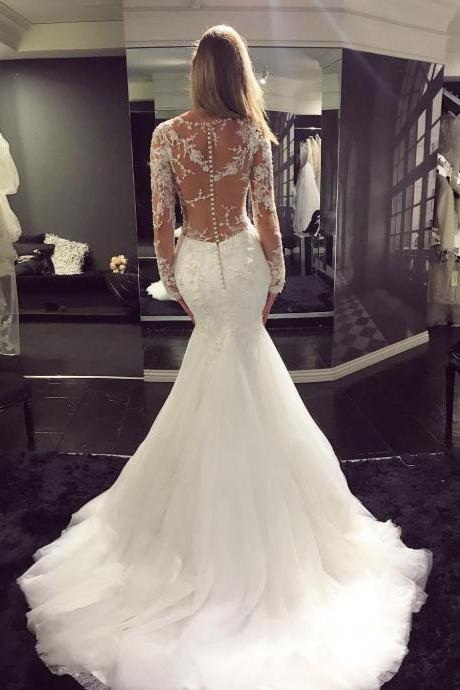 Long Sleeve Wedding Dress,Sexy Wedding Dress, Mermaid Wedding Dress,Lace Wedding Dress,High Quality Wedding Dress,2017 Wedding Gowns,Tulle Wedding Dress,Wedding Dresses,W445