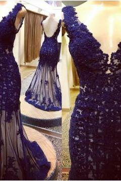 2017 Custom Made Royal Blue Lace Prom Dress,Deep V-Neck Evening Dress,Sexy Backless V-Back Party Gown,Mermaid Prom Dress,P467