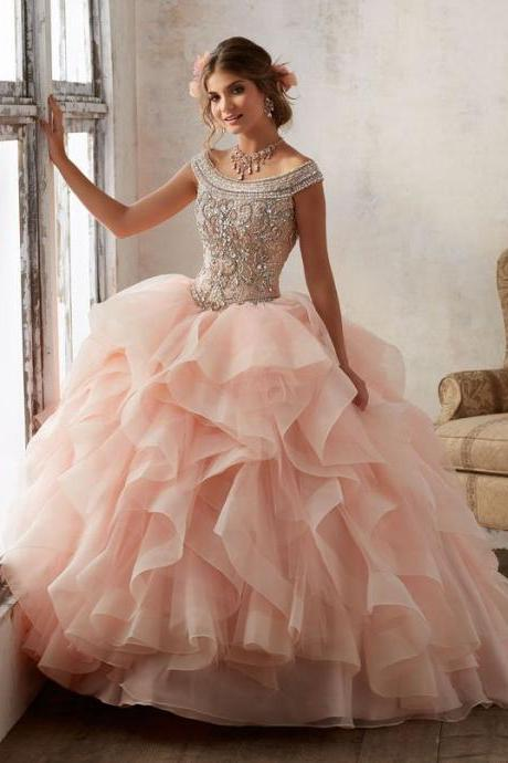 Bright Blush Pink Tulle Quinceanera Dresses Ball Gowns Strapless Sweet 16 Dress Tulle Long Cute Evening Dresses Party Gown,P495
