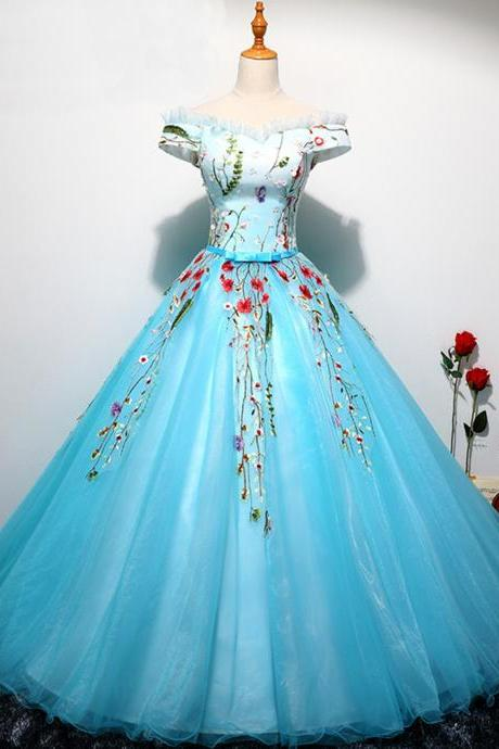 Sweetheart ice blue tulle long off shoulder ball gown, senior evening dresses,P511