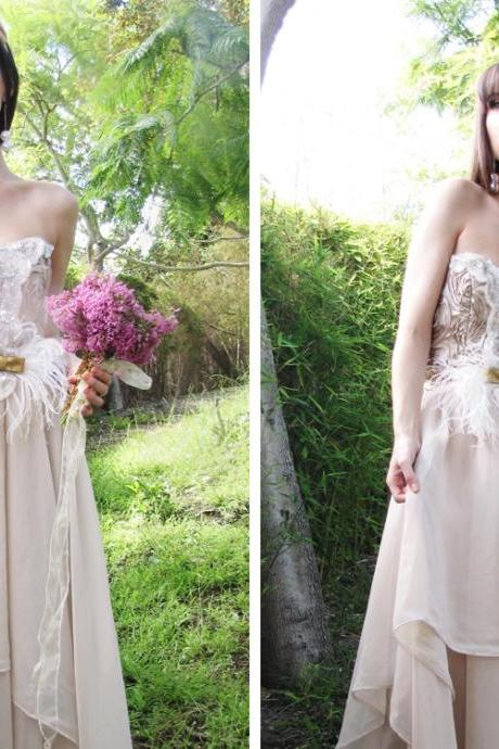 ECO-Country Chic Couture Whimsical Wedding Dress,W514
