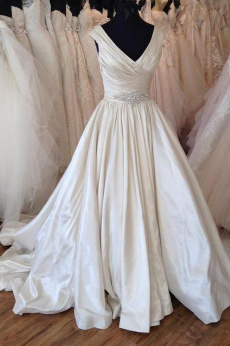 Simple ivory satin V neck customize floor length wedding dress, beaded occasion dress,W525
