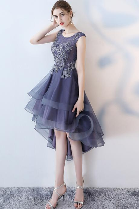 Stylish navy blue tulle high low halter sleeves homecoming dress, short party dress,H530
