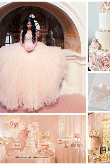 Pretty Glitter Quinceanera Dress Modest Ball Gown Tulle Wedding Dress With Beading Long Blush Pink Sweet 15 Prom Gowns,P546