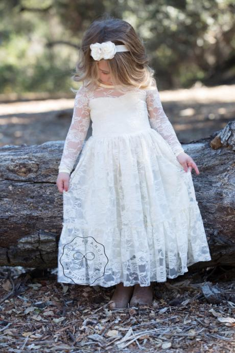 lace girl dress, flower girl dress, flower girl lace dresses, long sleeve dress, country lace dress, cream toddler dress, ivory lace dress,F555
