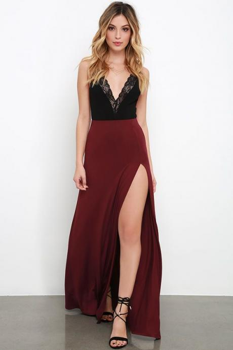 A-line Long Prom Dress Burgundy evening Dresses Wine Red Black Lace Party Gowns For Teens Fashion,P556