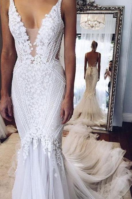 Elegant Appliques V-Neck Mermaid Open-Back Wedding Dress,High Quality Wedding Dresses,Prom Dresses Evening Dresses,W559