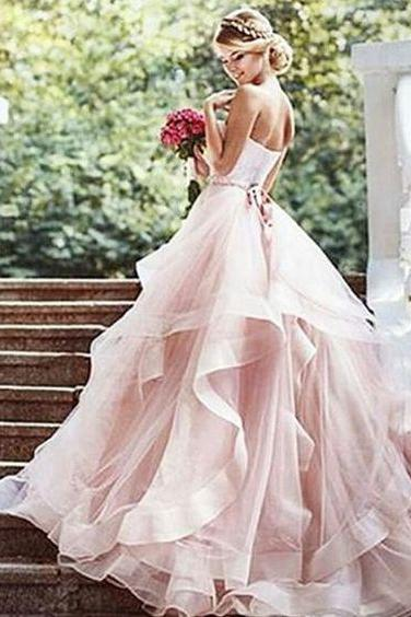 Elegant Wedding Dress,Lace Wedding Dress,Romantic Evening Dress,Princesses Wedding Gowns,Blush Pink Wedding Gowns,P572