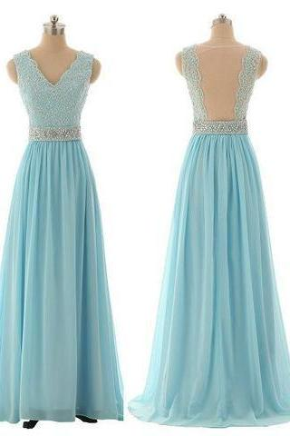 Lace Prom Dresses,Blue Prom Dress,Modest Prom Gown,Light Blue Prom Gown,Evening Dress,Backless Evening Gowns,Party Gowns ,P597