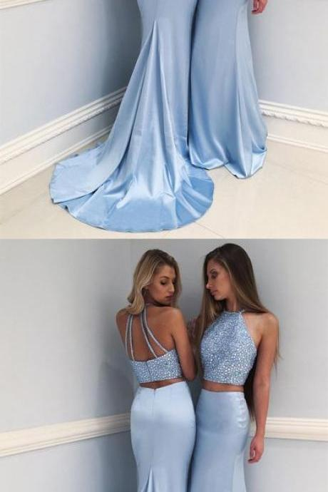 Stylish Light Blue High Neck Beaded Long Prom Dress,Two-Piece Mermaid Evening Dress,P617
