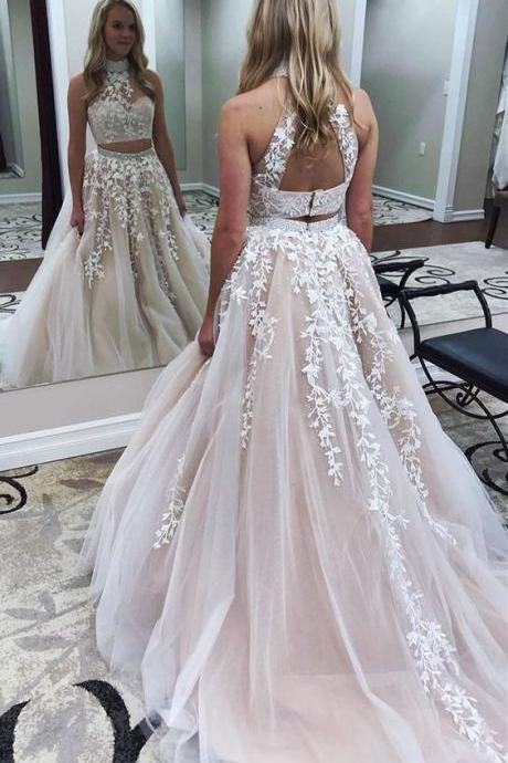 Two Piece Jewel Open Back Court Train Light Champagne Prom Dress with Appliques,P620