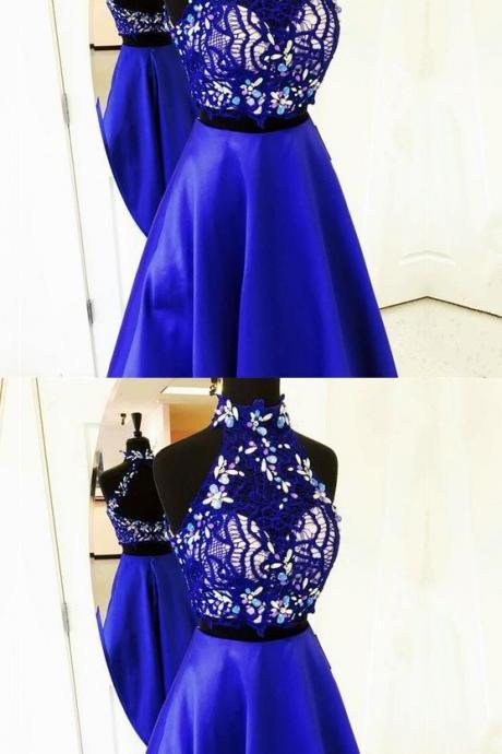 Lovely Two Piece A Line High Neck Open Neck Long Royal Blue Satin Prom/Graduation Dress With Beading/Lace,P653