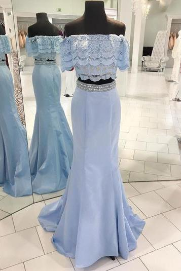 Spring fresh blue satin beaded two pieces long mermaid homecoming dress, long lace off shoulder party dress,P657