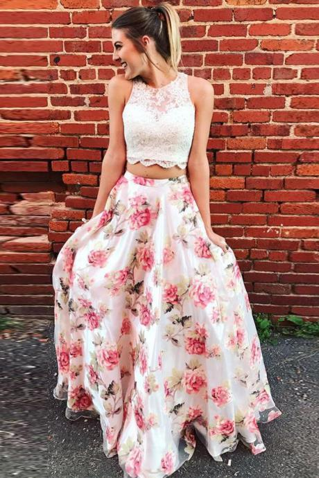 Two Piece Floral Long Lace A Line Prom Dress Graduation Party Dress,P678