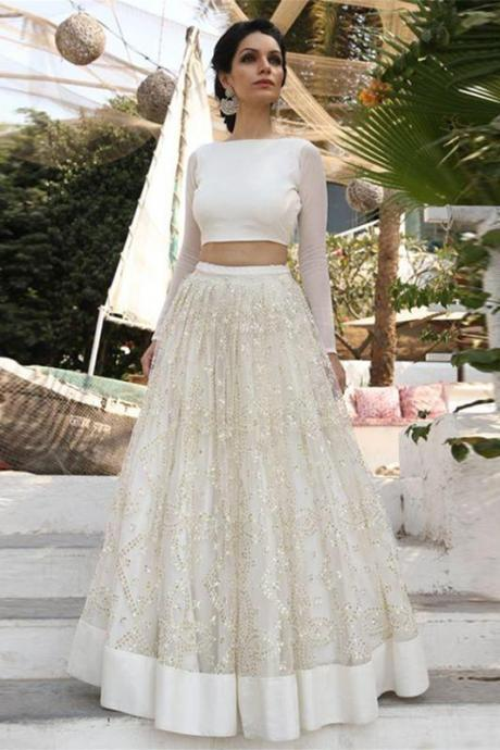 2018 Ivory Two Piece Cheap A Line Prom Dress,Long Sleeves Lace Wedding Dress ,P682