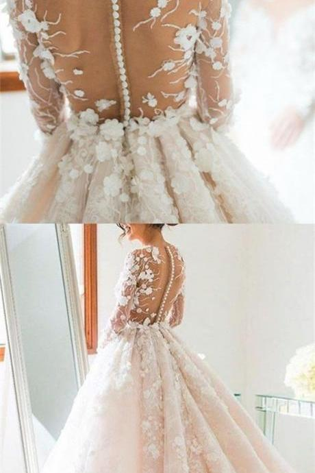 Gorgeous Long Sleeves Prom Dresses,Floral Appiques Wedding Dresses,Bridal Gowns,W684