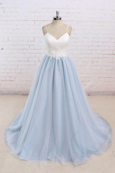 Baby Blue Sweet A line Spaghetti strap Long Simple Flower Lace Prom Dress,P683