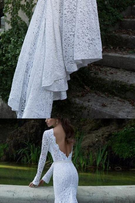 Mermaid Prom Dresses, White Mermaid/Trumpet Evening Dresses, Mermaid Long Evening Dresses, Mermaid Long Sleeve Bateau Sweep Brush Train Lace Prom Dress Evening Dress ,W696