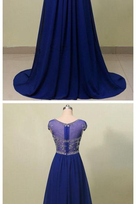 Royal Blue A Line Beaded Long Prom Dress With Cap Sleeves,P701