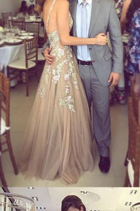 Custom Made Plunging V-Neckline Tulle and Lace Applique A-Line Long Evening Dress, Prom Dresses, Wedding Gowns