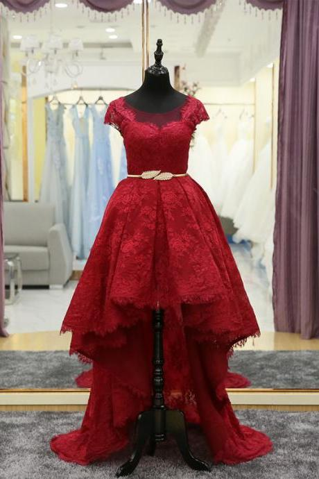 Prom Dress,High Low Prom Dress,Red Lace Prom Dress,Prom Dresses,Prom Dress With Short Sleeves,Front Short Back Long Prom Dress,Prom Dress 2018 ,P725