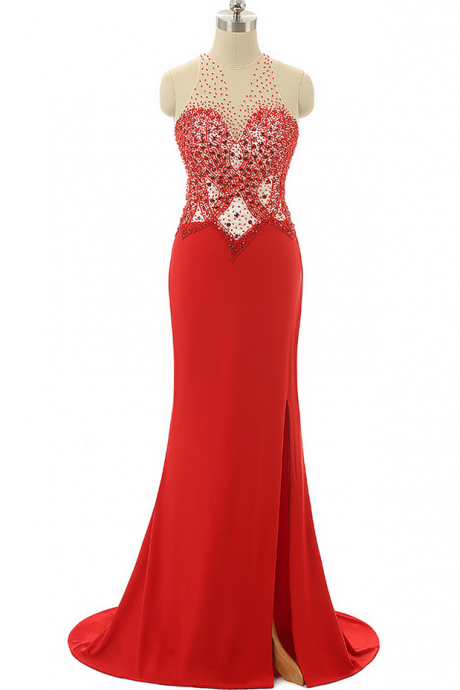 Red Prom Dresses,Beading Prom Dresses,Mermaid Evening Dresses ,Formal Party Gowns,P726