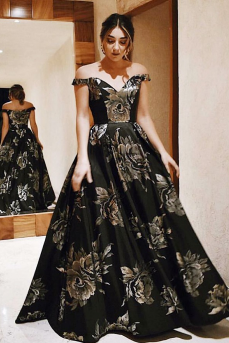 A-Line Off-the-Shoulder Floor-Length Black Floral Satin Prom Dress,P739