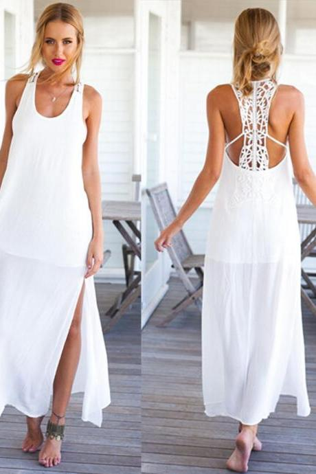 Women Summer Crochet Boho Evening Party Long Maxi Beach Dress Chiffon Sundress,P755