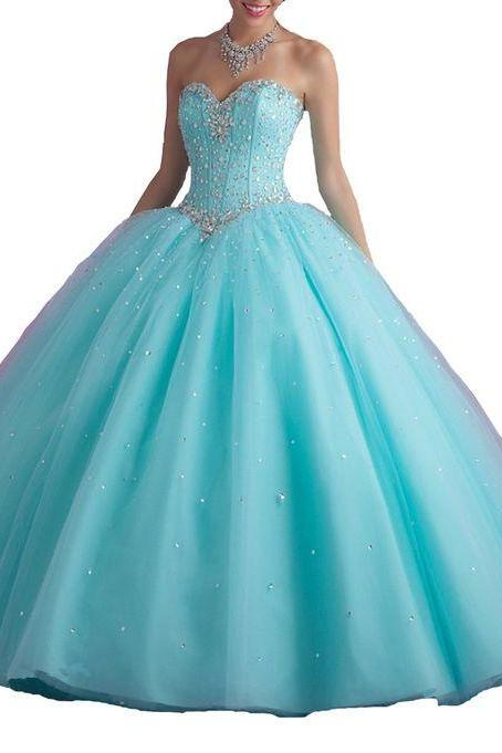 Sweetheart Crystals Strapless Beaded Tulle Sweet 16 Winter Formal Ball Gown Quinceanera Dress,P775