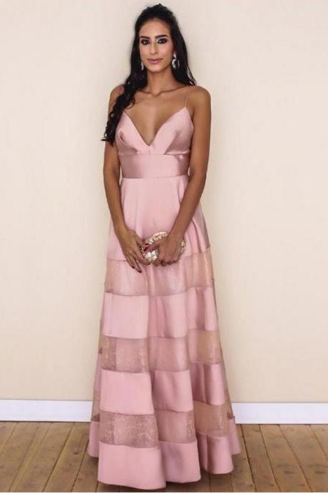 Sexy Prom Dresses A Line Spaghetti Straps Floor-length Lace Pink Chic Prom Dress ,P785