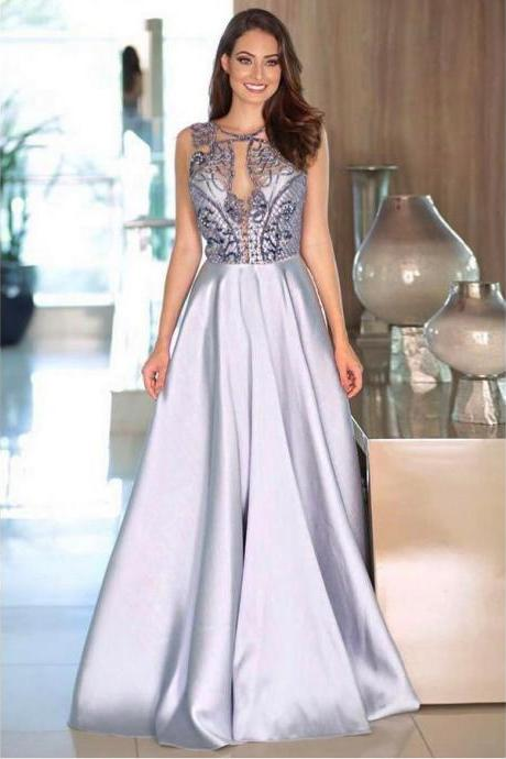 Sexy Prom Dresses Scoop A Line Floor-length Rhinestone Prom Dress Long Evening Dress ,P786