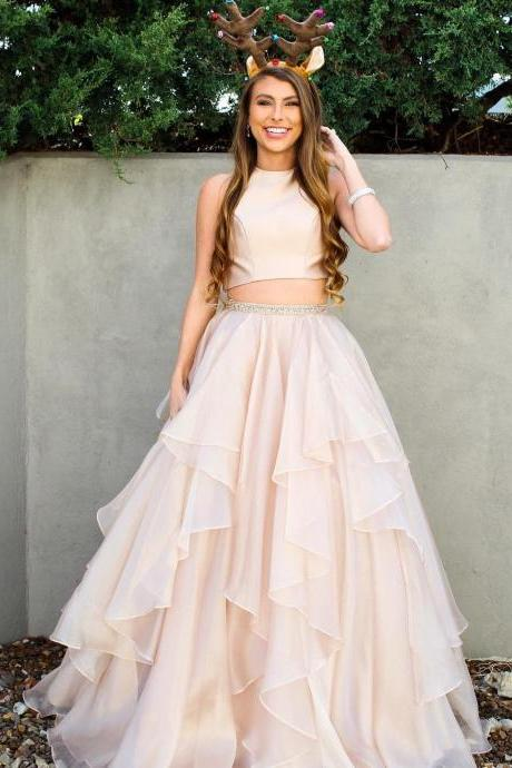 Two Piece Prom Dresses A-line Scoop Floor-length Long Sparkly Chic Prom Dress ,P788