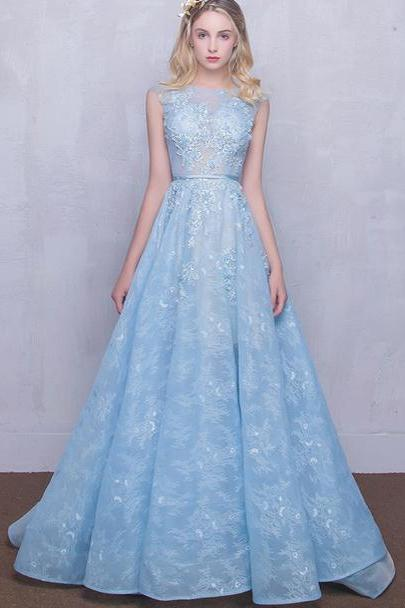Long Lace Prom Dresses Scoop Appliques Baby Blue Prom Dress/Evening Dress ,P789